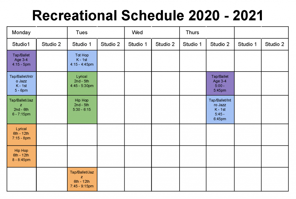 KrAz Dance Recreational Schedule 2020 - 2021